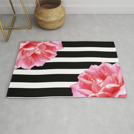 Pink roses on black and white stripes Rug