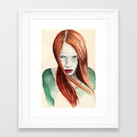 ginger Framed Art Prints featuring Ginger by Roxie Emm