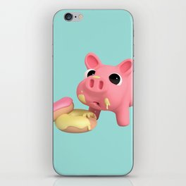 Rosa the Pig eating Donuts iPhone Skin