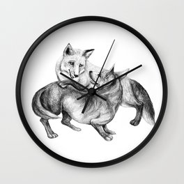 A fox and a dog  Wall Clock