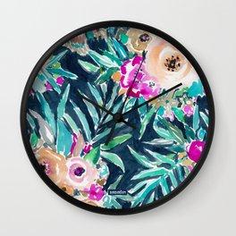 SO CASUAL Dark Tropical Palm Floral Wall Clock