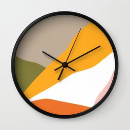 Minimal Landscape Collage 3.1 Orange & Green  Wall Clock