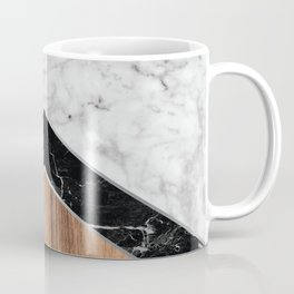 Stone Arrow Pattern - White & Black Marble & Wood #585 Coffee Mug