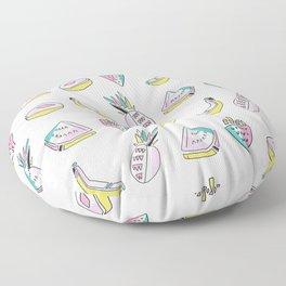 Memphis Tropical Fruit Pattern, Pinapples, Bananas, Watermelon Stripes Seamless Floor Pillow