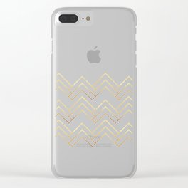 Art Deco Chevron Lines Bg White Clear iPhone Case