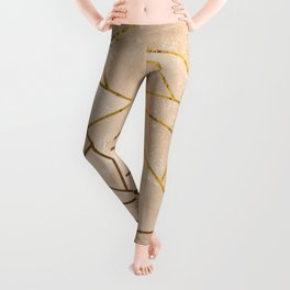 Rustic Stone With Modern Gold Accent Lines Leggings