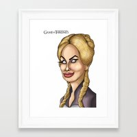 lannister Framed Art Prints featuring Cersei Lannister Game of thrones Caricature Cartoon Artwork  by GinjaNinja1801
