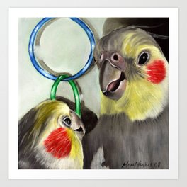 Chit Chat Cockatiel Painting Art Print