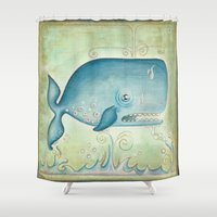 the whale Shower Curtains featuring WHALE by Patrizia Ambrosini