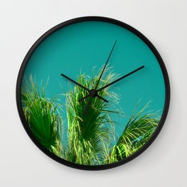 Palms on Turquoise Wall Clock
