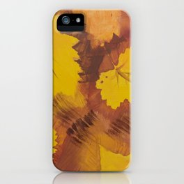 Yellow Autumn Leaf and a red pear painting Fall pattern inspired by nature colors iPhone Case