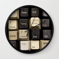 custom Wall Clocks featuring Custom Keyboard by Noah Scalin