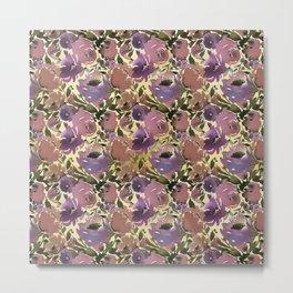 Botanical lavender purple ivory brown floral Metal Print