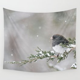 Snowbird on a Snowy Branch (Junco) Wall Tapestry