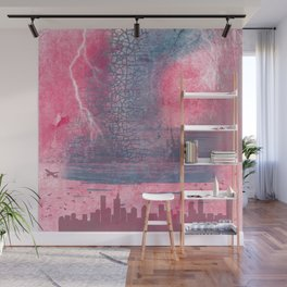 Town and the storm, pink, gray, blue Wall Mural