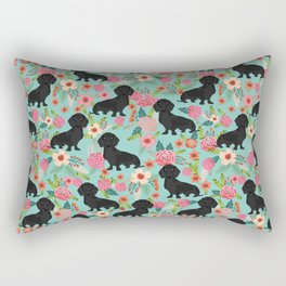 Doxie Florals - vintage doxie and florals gift gifts for dog lovers, dachshund decor, black doxie Rectangular Pillow