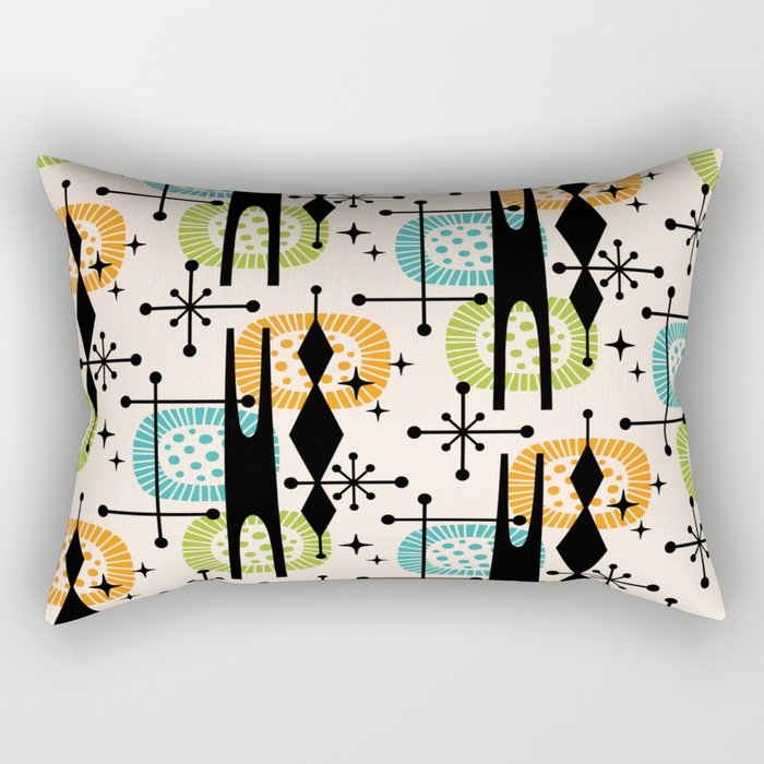 Retro Atomic Mid Century Pattern Orange Green and Turquoise Rectangular Pillow