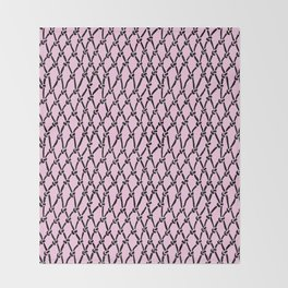 Fishing Net Black on Blush Throw Blanket