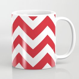 Fire engine red - red color - Zigzag Chevron Pattern Coffee Mug
