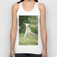 pitbull Tank Tops featuring Pitbull and Bubbles  by Laura Ruth