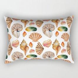 Coral pink orange watercolor nautical seashells Rectangular Pillow