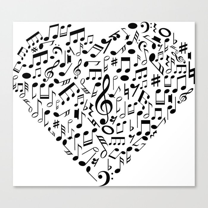 I Love Music | Musical Symbols Musician Canvas Print by anziehend