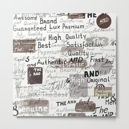 Grunge hipster pattern with different words and signatures Metal Print