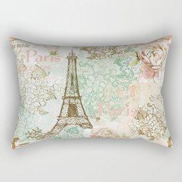 I love Paris - Vintage Shabby Chic - Eiffeltower France Flowers Floral Rectangular Pillow