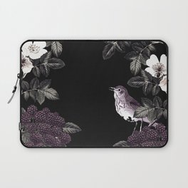 Blackberry Spring Garden Night - Birds and Bees on Black Laptop Sleeve