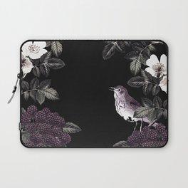 Blackberry Spring Garden Night - Birds and Bees on Black Laptop Sleeve