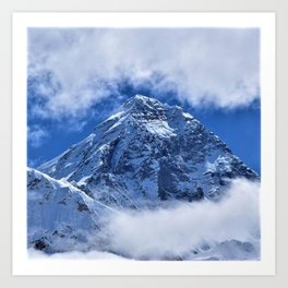 Summit of Mount Everest in clouds Art Print
