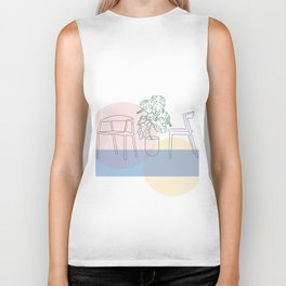 Plant and chairs Biker Tank