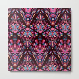 Bright colorful geometric pink floral tradition pattern Metal Print