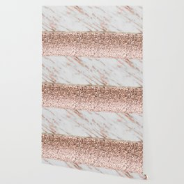 Warm chromatic - rose gold marble Wallpaper