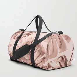 Rose Gold Monstera Leaves on Blush Pink 2 Duffle Bag