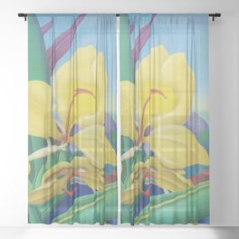 Yellow Ginger Orchid still life painting by Artist Unknown Sheer Curtain