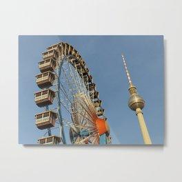 Ferris Wheel with Berlin TV Tower, Alex, Germany Metal Print
