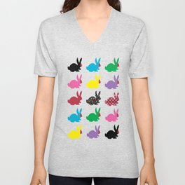 Rabbits Dressed For An Outing Unisex V-Neck