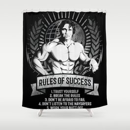 Gym Fitness Motivation Success Rules Bodybuilding Shower Curtain