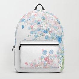 light pink and blue Baby Breath Bouquet gypsophila watercolor painting  Backpack