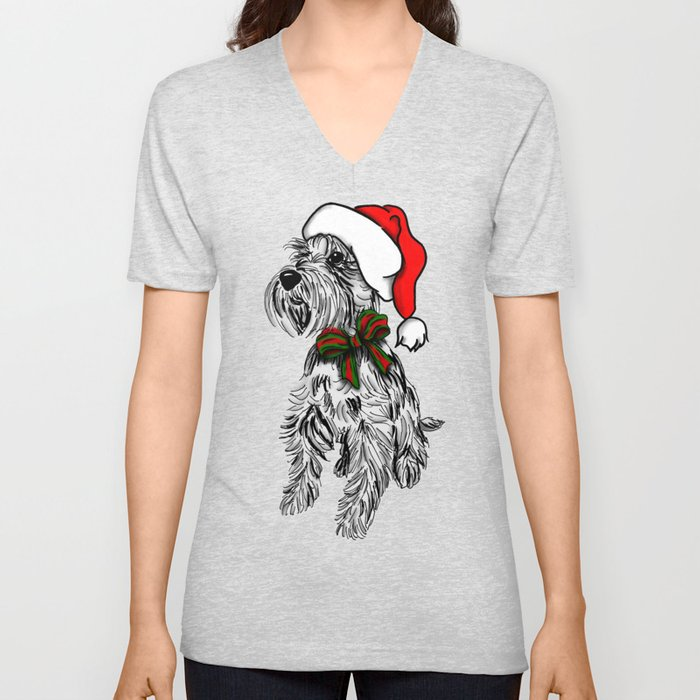 Christmas Schnauzer Sketch Unisex V-Neck