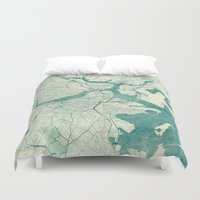 vintage map Duvet Covers featuring Boston Map Blue Vintage by City Art Posters