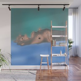 Hippos in a swamp Wall Mural