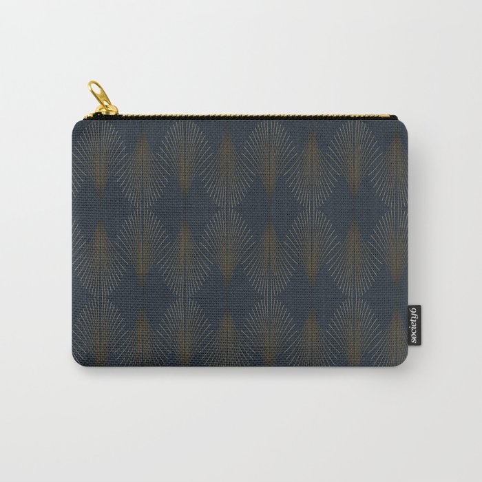 Art Deco Gold/Navy Pattern II Carry-All Pouch
