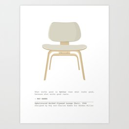 Eames Chair - Upholstered Molded Plywood Lounge Chair Art Print
