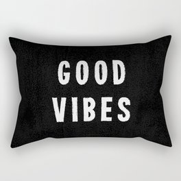 Grungy Distressed Ink Good Vibes | White on Black Rectangular Pillow