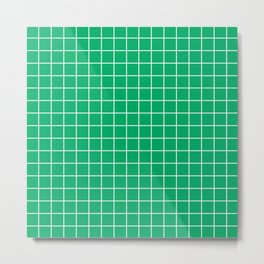 GO green - green color - White Lines Grid Pattern Metal Print
