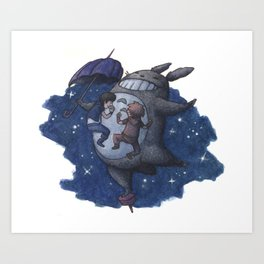 Ghibli loves video games 01 Art Print