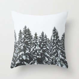 SNOWY TREETOPS Throw Pillow