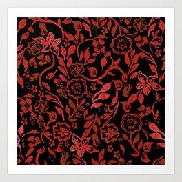 Black Boho Floral Art Print